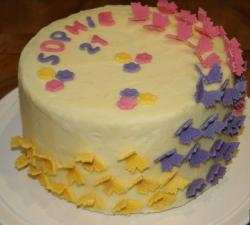 Butterflly birthday cake with yellow and purple butterflies perfect 21 cake birthday.JPG