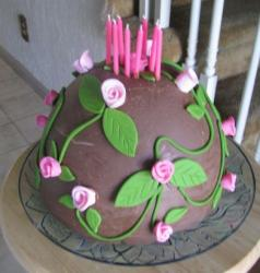 Chocolate mm cake with pink rose cake decoration with hot pink birthday candles.JPG