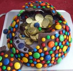 Chocolate pinata cake filled with golden coins candies.JPG