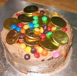 Homemade chocolate pinata cake with M&M and gold coins.JPG