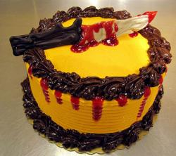 Bloody cake perfect for Halloween with knife with blood.JPG