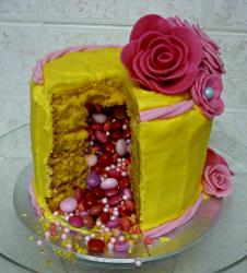 Girls pinata cake with floral cake decoration and cake filled with purple, pink and red m&ms.JPG