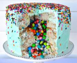 Bright colored pinata cake filled with mms and decorated with colorful cake spinkles.JPG