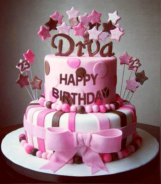 Pink Diva 2 Tier Birthday Cake For Women With Bowtie And Star StreamersJPG