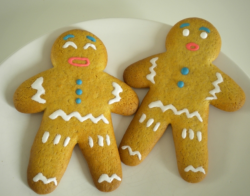Yellow funny looking gingerbread man cookies photos.PNG