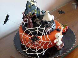 Haunted House theme Halloween Cake with Ghost Mummy Bats & Spiders.JPG