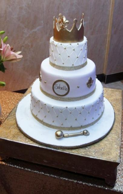 3 Tier Personalized Baby Shower Cake With Golden Crown On