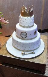 3 Tier Personalized Baby Shower Cake with Golden Crown on Top.JPG