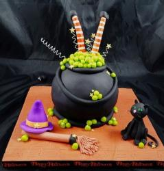 Witch's Cauldron Halloween Cake with Black Cat.JPG