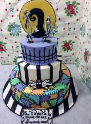 Nightmare Before Christmas Halloween Cake in 3 tiers.JPG