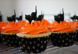 Halloween black cat cupcakes with orange frosting and black cat cupcake toppers.JPG
