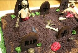 Zombie graveyard cake with full of zombies.JPG