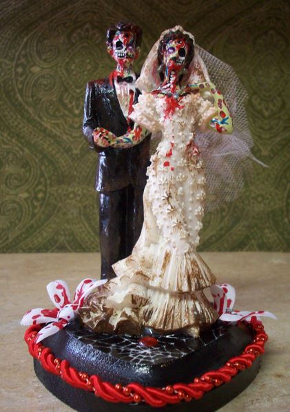 Zombie grom and bride cake topper.JPG