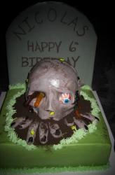 Scary kids zombie birthday cake pictures.JPG