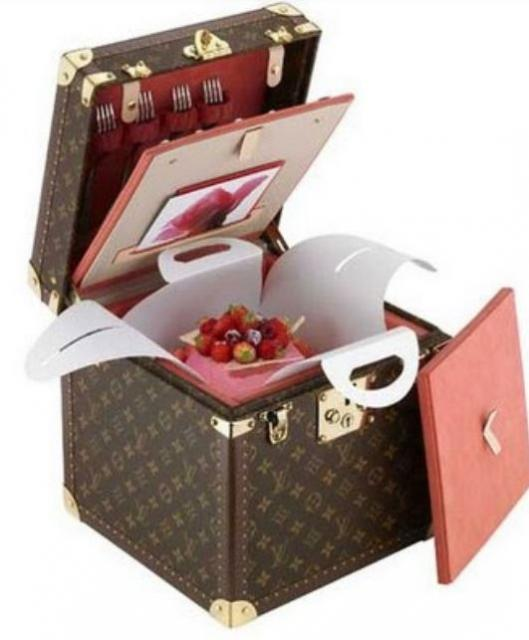 Louis Vuitton Box Cake with a fruit cake.JPG