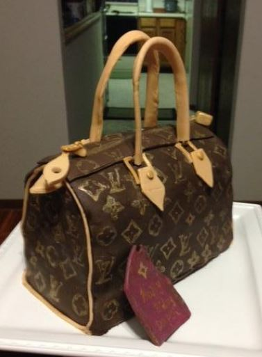 Louis Vuitton Speedy handbag cake pictures.JPG