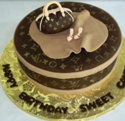 Round Louis Vuitton cake with LV purse cake topper picture.JPG