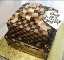 Canvas Louis Vuitton Damier birthday cakes with large bow cake topper picture.JPG