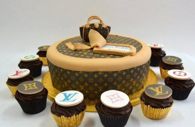 Louis Vuitton bags cake with LV cupcakes pictures.JPG