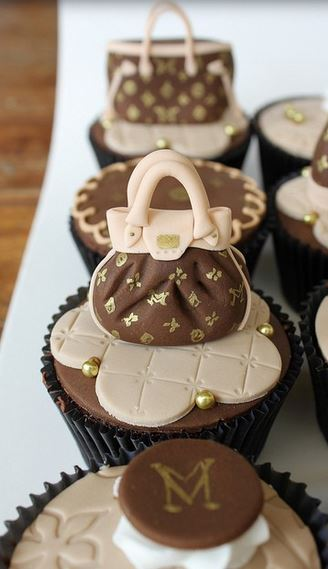 Louis Vuitton cupcakes with Louis Vuitton cupcake toppers.JPG