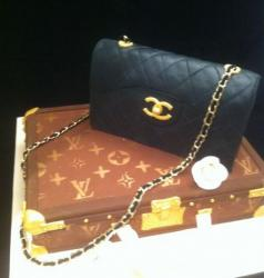 Louis Vuitton purse and Chanel purse cake picture.JPG