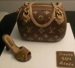 Louis Vuitton shoes cake with LV purse cake in monogram canvas.JPG