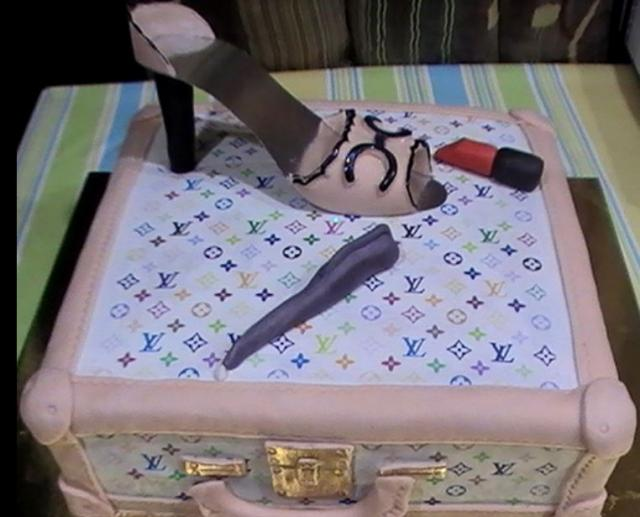 Louis Vuitton suitecase and Louis Vuitton shoes cake pictures.JPG