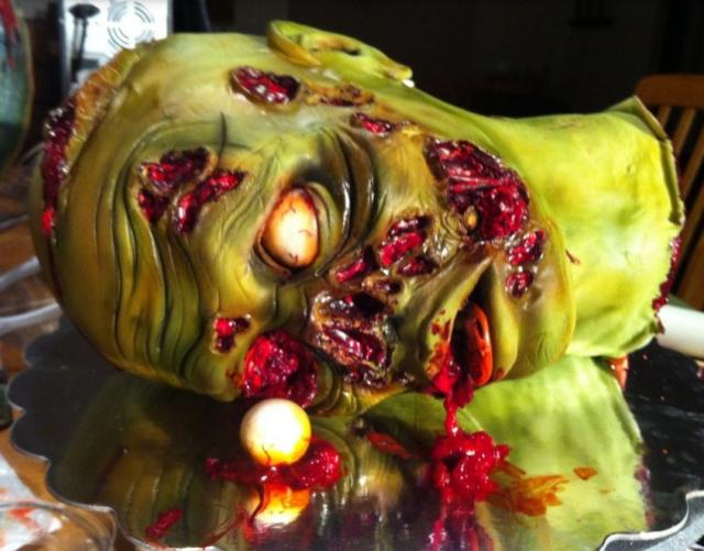 Halloween zombie cake photo with zombie head blooding.JPG