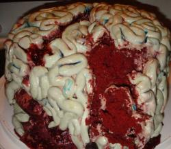 Bleeding zombie brain birthday cakes pictures.JPG