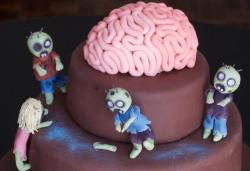 Chocolate zombie cake with full of fondant zombie cake decoration and fondant brain cake topper.JPG