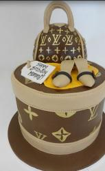Tall round Louis Vuitton purse cake picture.JPG