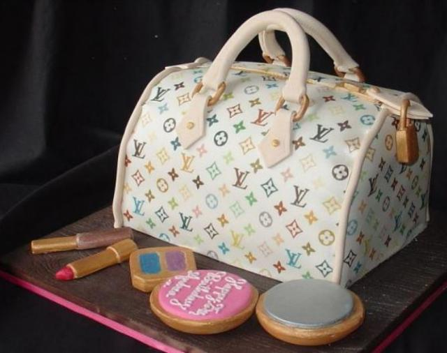 White multi Louis Vuitton purse cake photo.JPG