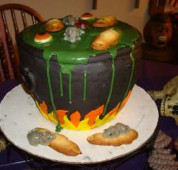 Witch halloween cake with fingers, eye balls and rats.JPG