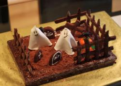 Chocolate spooky cake halloween with ghosts in grave yard.JPG