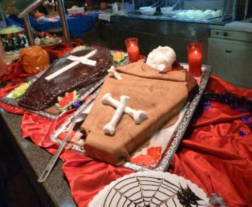Coffin Halloween cakes with white cross.JPG