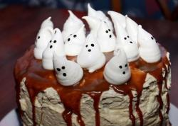 Kids homemade Halloween with marshmallow ghosts cake toppers.JPG