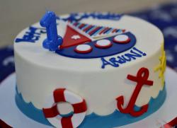 Sailing Theme First Birthday Cake with Red Anchor.JPG