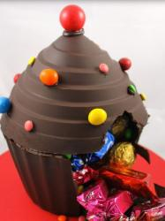 Giant chocolate cupcake with colorful candies.JPG