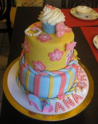 Girl birthday cake with flowers and butterflies cake theme.JPG
