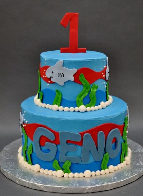 First Birthday Cake With Shark Underwater Theme In 2 Tiers Jpg