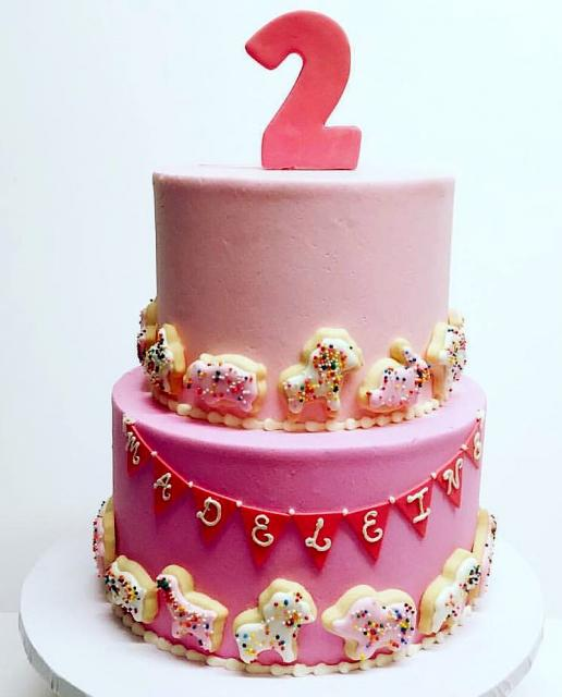 Cute 2 Tier Pink Birthday Cake For Two Year Old GirlJPG