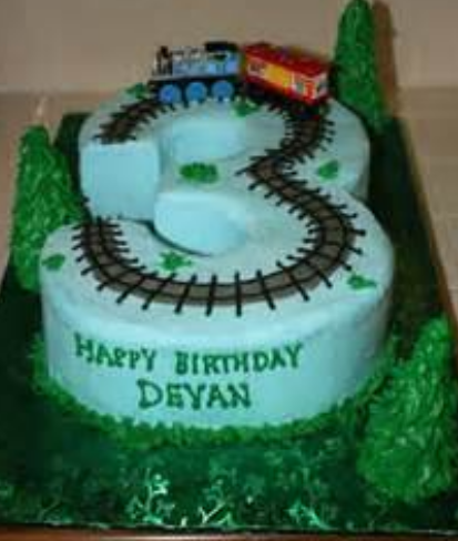 3 Years Old Kids Train Theme Birthday CakePNG