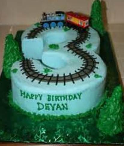3 Years Old Kids Train Theme Birthday Cake Png