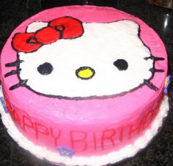 Hot pink hello kitty cake with hello kitty face cake decoration.PNG