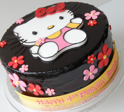 Japanese Hello Kitty cake with Hello kitty shape cake decor and small flowers.PNG