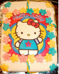 Large retangle colorful cake decor with hello kitty cake shape.PNG