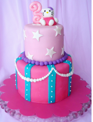 Two tier Hello Kitty fancy cake in hot pink and light pink with cute Hello Kitty cake topper.PNG