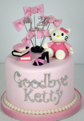 Goodbye cake with beautiful hello kitty cake with hello kitty cake topper, shoe cake topper and books cake topper.PNG