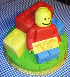 Lego block theme birthday cake.JPG
