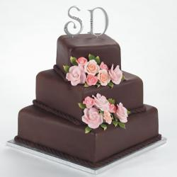 Square chocolate wedding cakes with pink roses with letter cake toppers.jpg